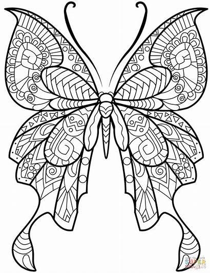 Coloring Butterfly Zentangle Mandala Colorear Mariposa Dibujos