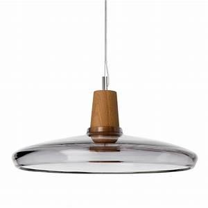 Suspension En Bois : suspension en bois et en verre souffl au design industriel ~ Teatrodelosmanantiales.com Idées de Décoration