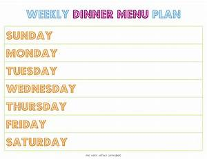 printable weekly menu planner new calendar template site With home dinner menu template