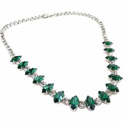Emerald Necklace Choker Kramer Rhinestone Navette Ruby