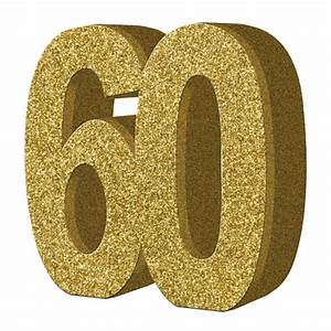 Number 60 Gold Glitter Number Table Decoration (1) Gold