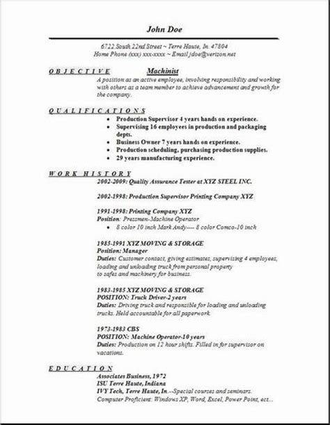 Machinist Resume Cover Letter by Machinist Resume Occupational Exles Sles Free Edit