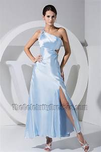 Sexy Light Sky Blue One Shoulder Prom Gown Evening Dress ...