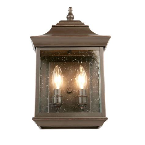 hton bay 2 light rubbed bronze outdoor wall lantern
