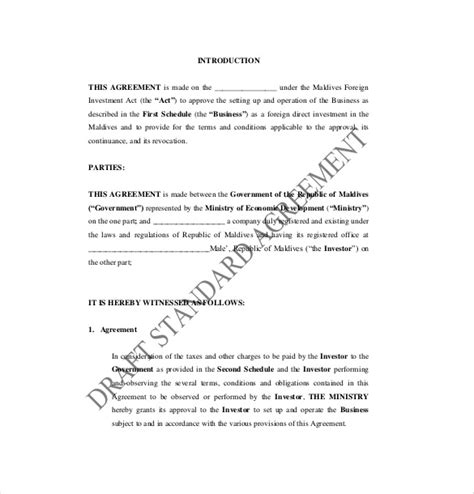 business investment agreement examples  word