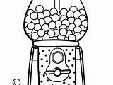 Gumball Machine Clipart Coloring Gum Bubble Drawing sketch template