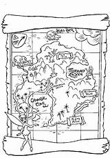 Coloring Treasure Map Pages Pirate Printable Maps Pan Peter Pirates Neverland Disney Treasures Theme Including Tinkerbell Getcoloringpages Summer Cryptic Hunts sketch template