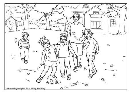 kicking  ball  dad colouring page