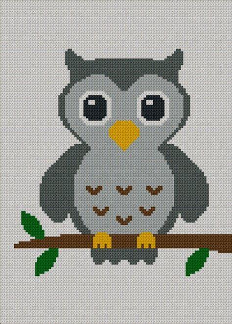 easy  cute gray baby owl crochet knit cross stitch