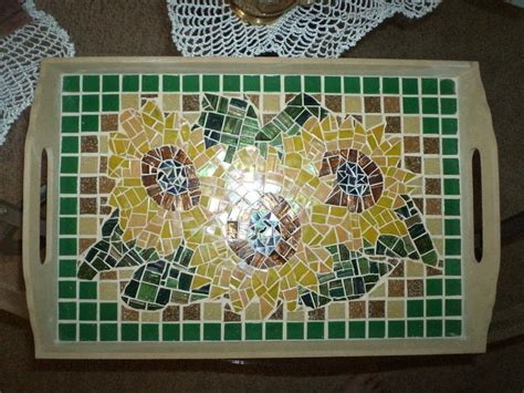 Mosaic Sunflower Tray · A Tray · Mosaic on Cut Out   Keep