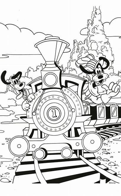 Coloring Disney Pages Printable Goofy Pluto Disneyland