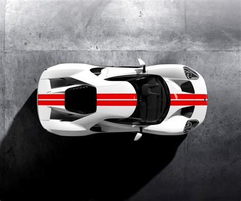 Ford Gt Supercar Frozen White Race Red Stripe Overhead Hd