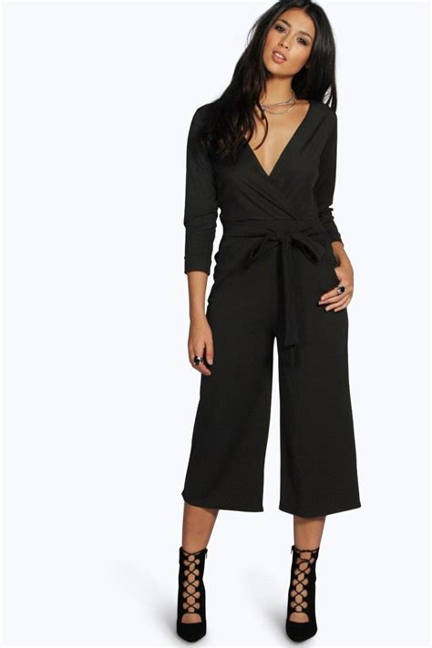 misses jumpsuits boohoo womens roll sleeve relaxed culotte jumpsuit