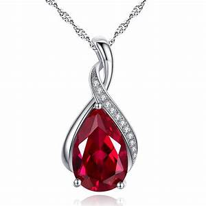 """3.15 Ct Created Red Ruby Gemstone 18"""" Pendant Necklace 925 ..."""