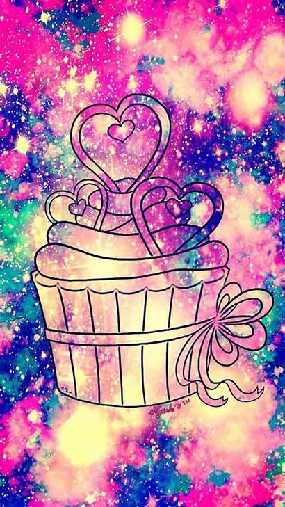 Cupcake Galaxy Glitter Wallpapers Kawaii Sparkle Pretty