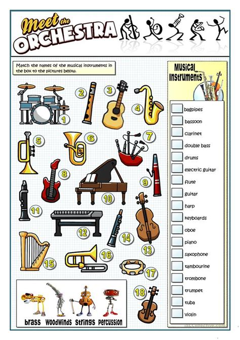 instruments of the orchestra worksheets 31 free esl musical instruments worksheets