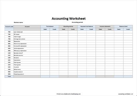 accounting worksheet template accounting general