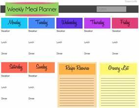 weekly meal planner template pdf
