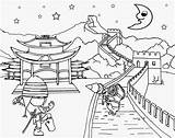 Coloring Pages Minion China Wall Chinese Landscape Printable Tropical Paradise Beach Ninja Clipart Cool Costume Drawing Oriental Activities Worksheet Minions sketch template