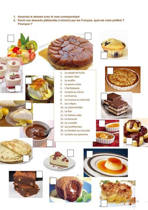 vocabulaire recette de cuisine les desserts préférés des français fiche d 39 exercices
