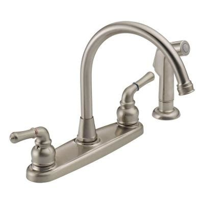 how to open kitchen faucet peerless 2 handle side sprayer kitchen faucet in satin nickel was01xns the home depot