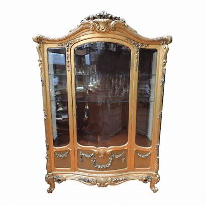 Cabinet Glass Display Wood French Carved 7ft