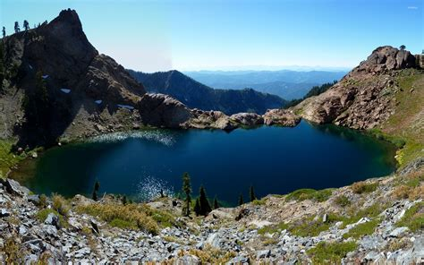 small mountain small lake surrounded by the mountains wallpaper nature wallpapers 53087