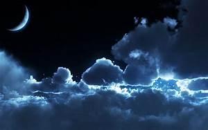 Moonrise, 3d, blue, clouds, crescent, dark, darkness ...