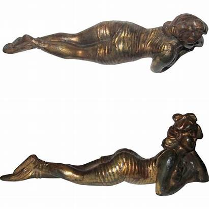 Bathing Deco Paperweight Cast Metal Swimmer Lane