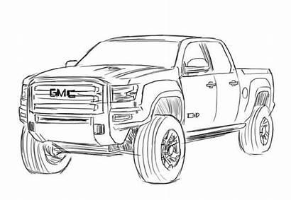 Gmc Sierra Drawing Coloring Drawings Sketch Truck