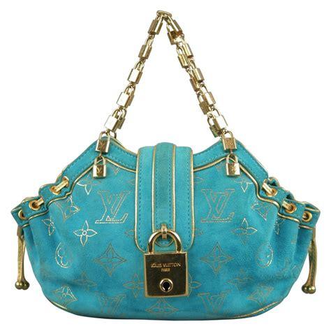 louis vuitton turquoise  gold monogram suede lock chain strap theda pm mini bag  sale