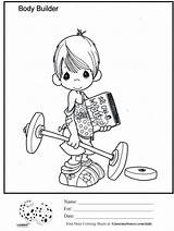 Coloring Lifting Weight Sunday Precious Moments Sheet Ginormasource Snoopy Bodybuilding sketch template