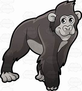 A Gorilla On All Fours Vector Clip Art Cartoon