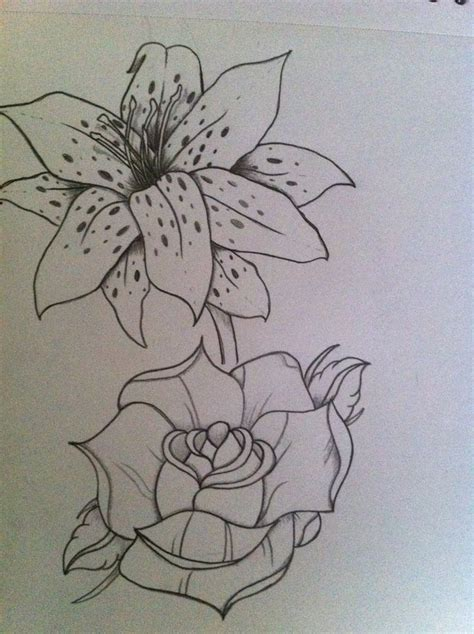 rose  lily drawing tattoos leaf tattoos piercings