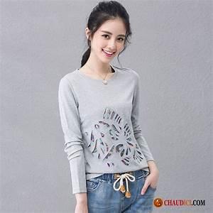 Tee Shirt Ete Femme : tee shirt femme col rond printemps longues soie une veste pas cher ~ Melissatoandfro.com Idées de Décoration