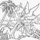 Coloring Landscape Drawing Scenery Desert Dinosaur Pages Dinosaurs Printable Drawings Flying Scene Colouring Landscapes Cliparts Forest Natural Gigantic Pteranodon Tropical sketch template