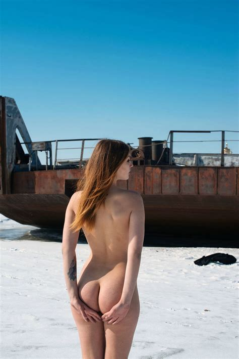Sexy Tattooed Girl At Old Boats On Frozen River Russian Sexy Girls