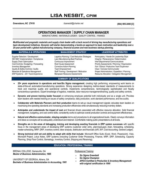 Supply Chain Project Manager Resume by Resume Senior Operations Manager Senior Manager Operations