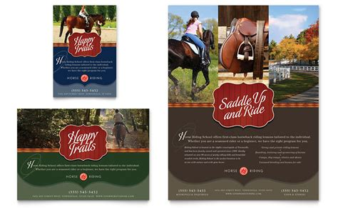 horse riding stables camp flyer ad template word