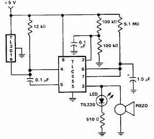 Door open alarm using 555 timer circuit for Door sensor circuit
