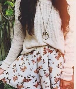 Skirt: sweater, jewels, floral skirt, shirt, flowers ...