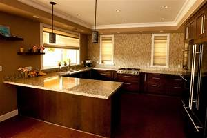 Open concept no upper cabinet u shape kitchen for Kitchen design with no top cabinets