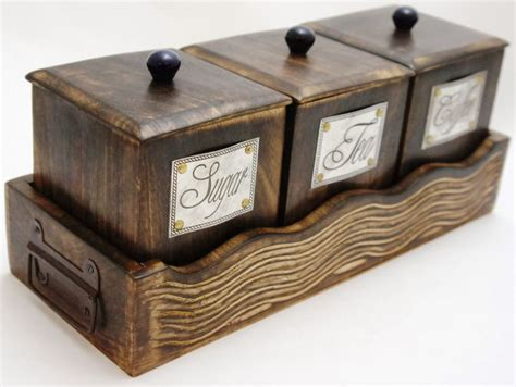 wooden canisters kitchen amazon com handcrafted wooden antique look tea coffee sugar 3 piece canister set made of mango