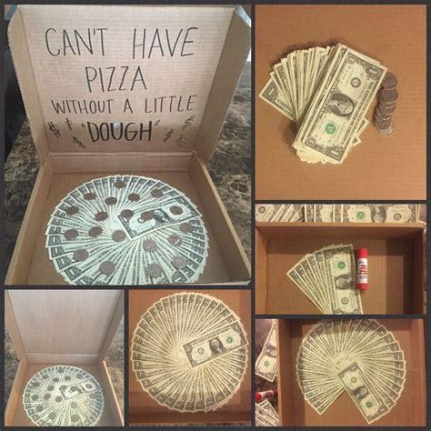 money gift diy idea dollar bills   faux pizza box