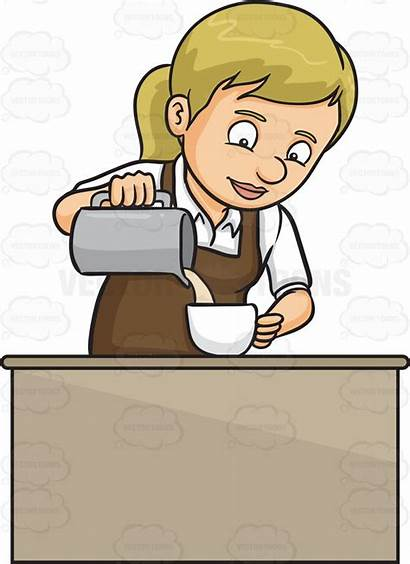 Milk Pouring Clipart Barista Lady Cartoon Clipartmag