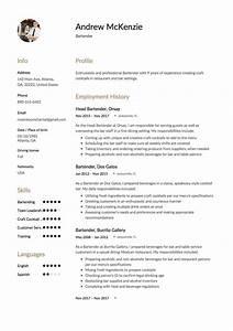 Restaurant Server Objective Free Bartender Resume Sample Template Example Cv