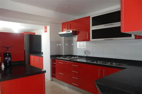 Impressive Red And Grey Cabinet Modern Red Wall Kitchen On