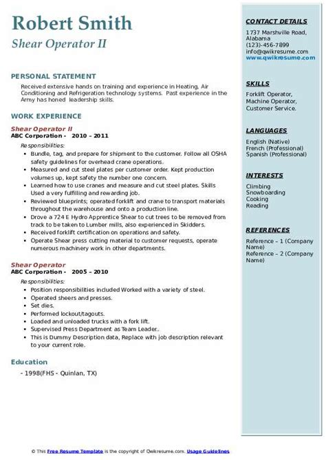 shear operator resume samples qwikresume