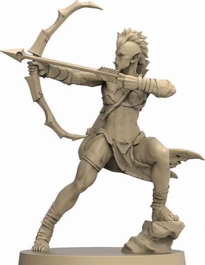 Orc Female Archer Miniature Figurine Dwarf Gt