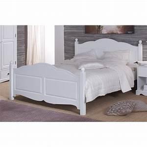 Lit Et Matelas : lit blanc 2 places 140 x 190 sommier et matelas beaux meubles pas chers ~ Teatrodelosmanantiales.com Idées de Décoration